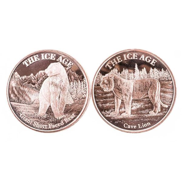Group of (2) .999 Fine Pure Copper 1oz  Medallions, 'The Ice Age' Cave Lion - Giant  Short Faced Bea