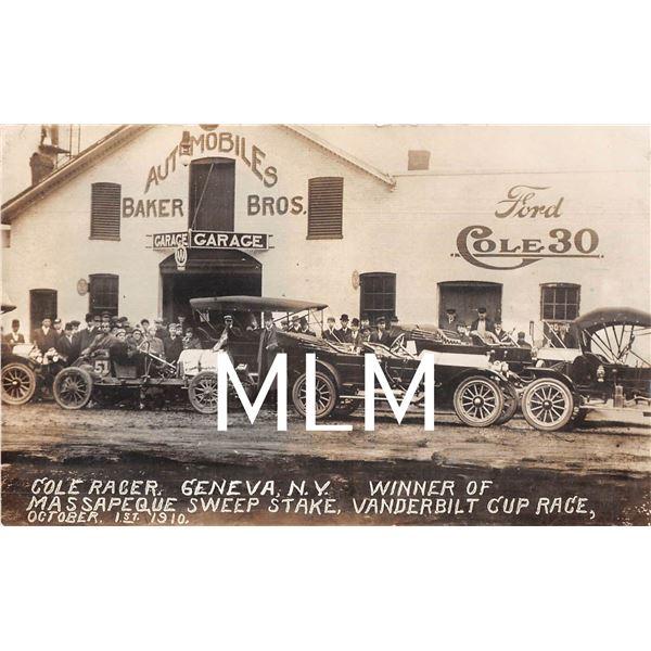 Cole Racer Geneva, New York Vanderbuilt Cup Race Auto Garage Photo Postcard