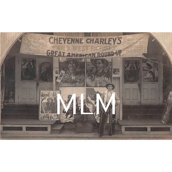 Cheyenne Charley's Cowboy Wild West Pictures Theater in front of signs Photo Postcard