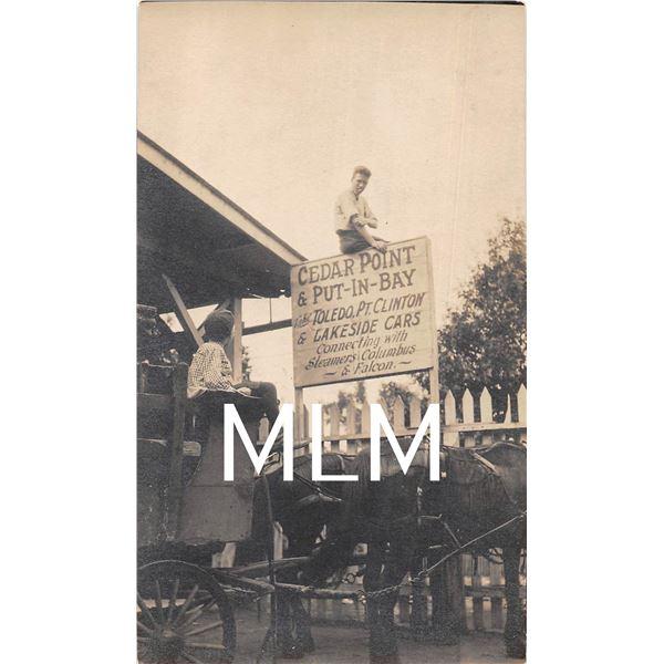 Cedar Point & Put-in-bay Ohio Horse Wagon Waiting for Steamer Photo Postcard