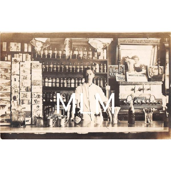 Eden, New York Olympic Runner George Pyrits Soda Fountain Store Int. Photo Postcard