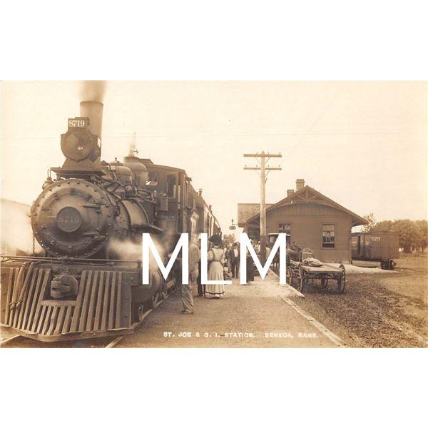 St. Joe & G.I. Station Seneca, Kansas Train Station Photo Postcard