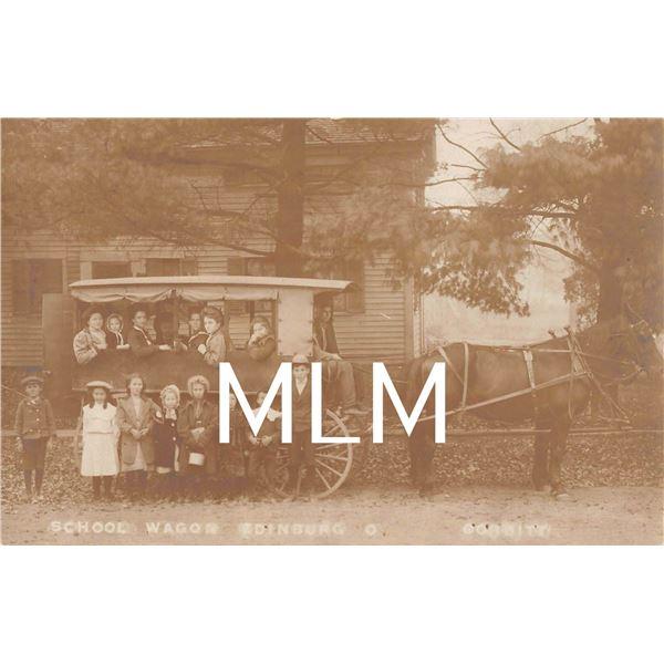 School Wagon Full of Students Edinburg, Ohio Photo Postcard