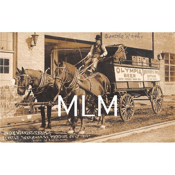 Seattle Washington Brewery Olympia Beer Horse Drawn Delivery Wagon Photo Postcard