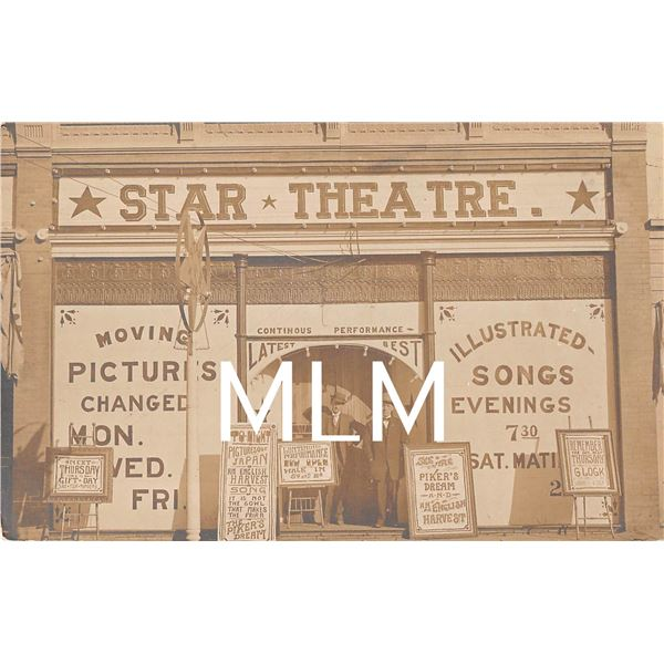 Star Theatre Moving Pictures Front with Signs Photo Postcard