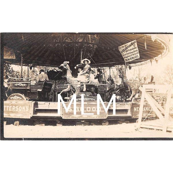 Merry Go Round Carousel Amusement Park Ride Coca-Cola Bottling Works Sign Photo Postcard