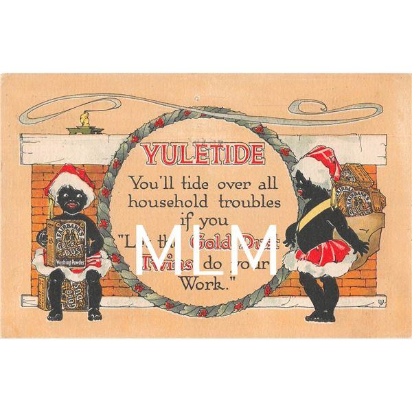 Gold Dust Twins Washing Powder Black Americana Advertising Yuletide Postcard