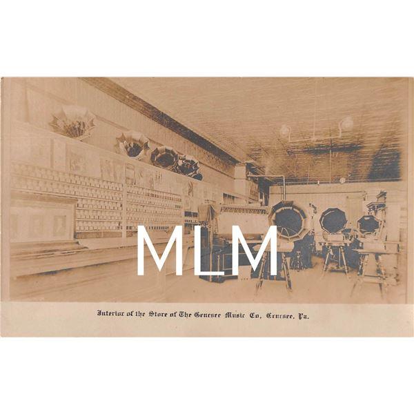 Genesse, Pennsylvania Phonograph Music Store Interior Photo Postcard