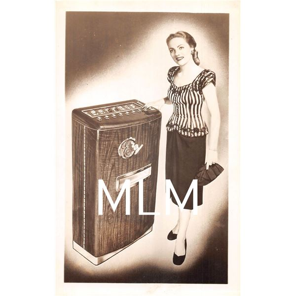 Cigarette Vending Machine with Lady Advertising Photo Postcard