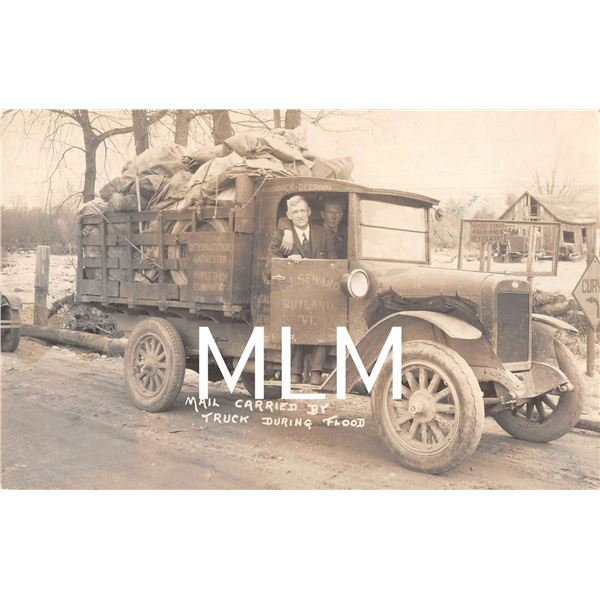 Rutland, Vermont Mail Carried By Truck During Flood Photo Postcard