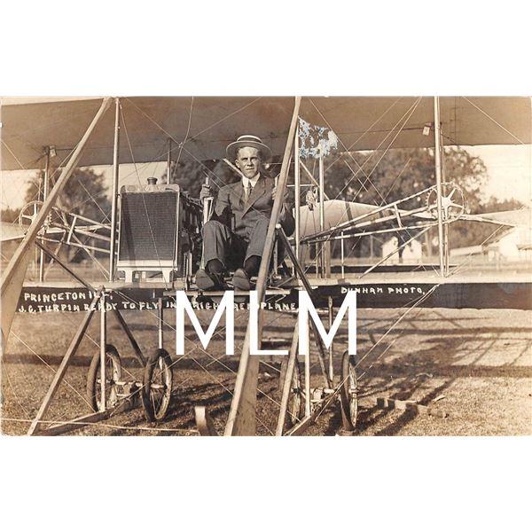 J.G. Turpin Ready to Fly in Wright Aeroplane Princeton, Illinois Photo Postcard