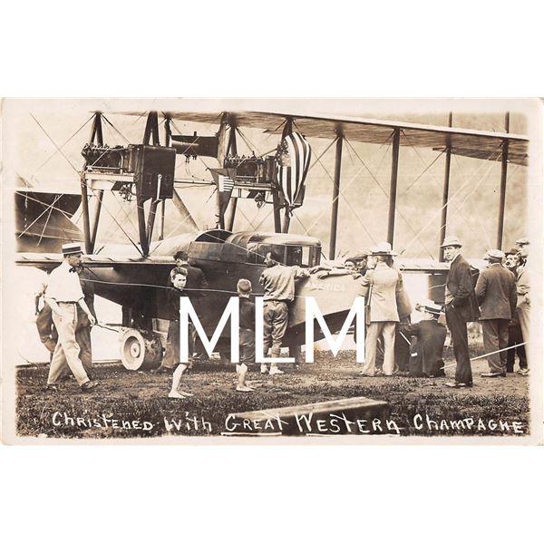 Glen Curtiss Airplane America Christened Hammondsport, New York Photo Postcard