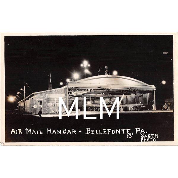 Air Mail Hangar Bellefonte, Pennsylvania Airplane Photo Postcard
