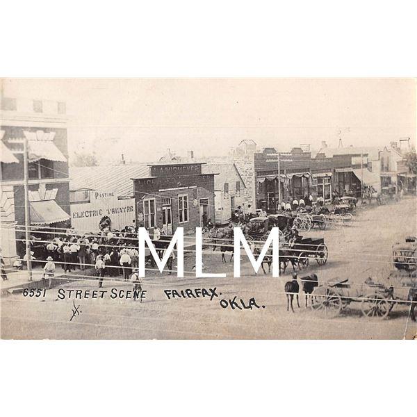 Street Scene Crowd Gathered at Theatre Fairfax, Oklahoma Photo Postcard