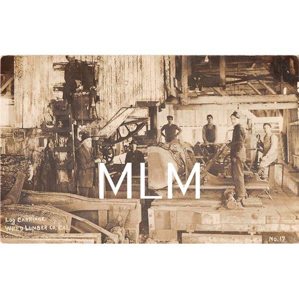 Factory Interior Weed Lumber Co. California Photo Postcard