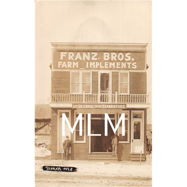 Store Front Franz Bros. Farm Implements Cream Seperators Tomah, Wisconsin Photo Postcard