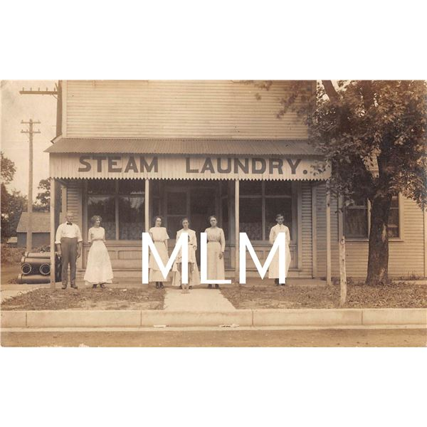 Steam Laundry Workers/Family In Front of Store Photo Postcard