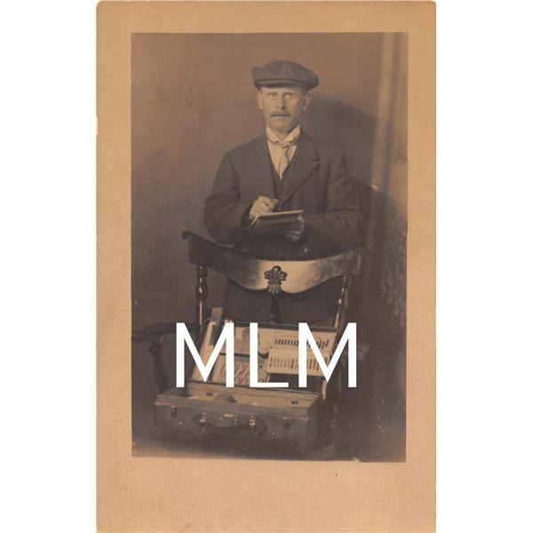 Traveling Salesmen Selling From Briefcase Photo Postcard