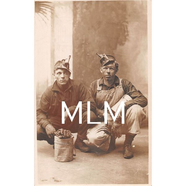 Two Men Dressed For Work in Factory/Mines Photo Postcard