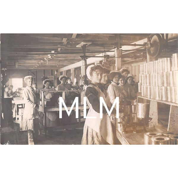 Interior of Women Working in Canning Factory Photo Postcard