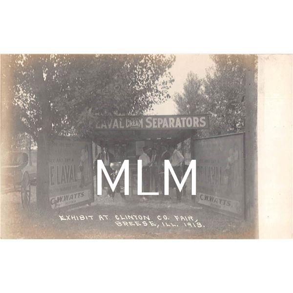 De Laval Cream Separators Exhibit at Clinton Co. Fair Breese, Illinois Photo Postcard