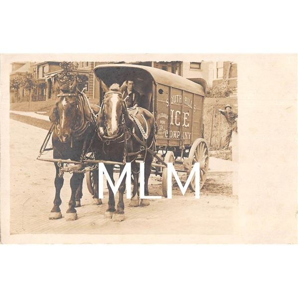 South Hills Ice Company Delivery Wagon Helper with 3 Legs Pittsburgh, Pennsylvania Photo Postcard