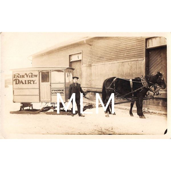 Fair View Dairy Horse Drawn Delivery Wagon Photo Postcard