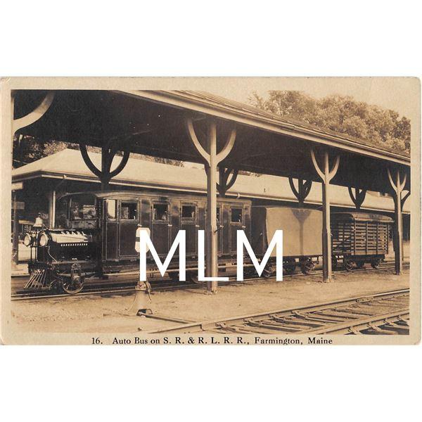 Auto Bus Train Station Depot Farmington, Maine Photo Postcard