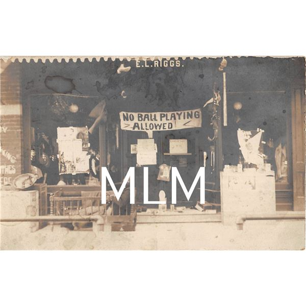 No Ball Playing  Store Front African American Man in Crib Photo Postcard