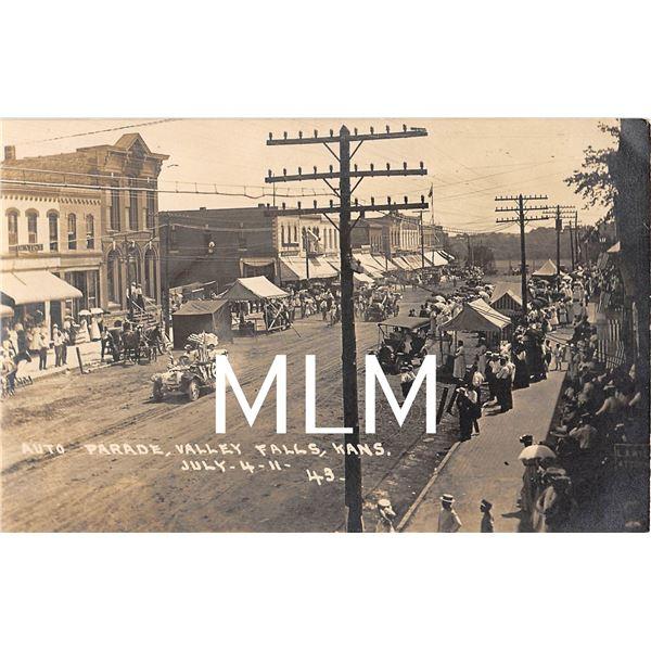 Auto Parade, Valley Falls, Kansas July 4, 1911 Photo Postcard