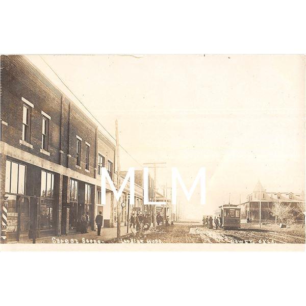 Trolley Street Scene Dewey, Oklahoma Photo Postcard