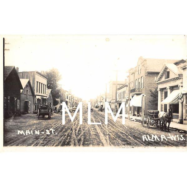 Main Street First National Bank Alma, Wisconsin Photo Postcard