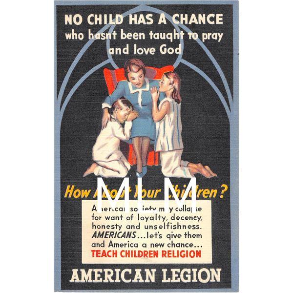 No Child Has a Chance American Legion Linen Postcard