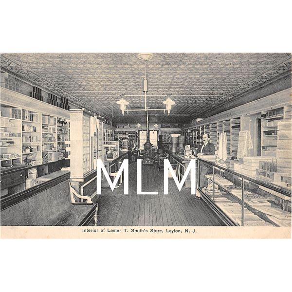 Interior Lester T. Smith's Store Layton, New Jersey Postcard