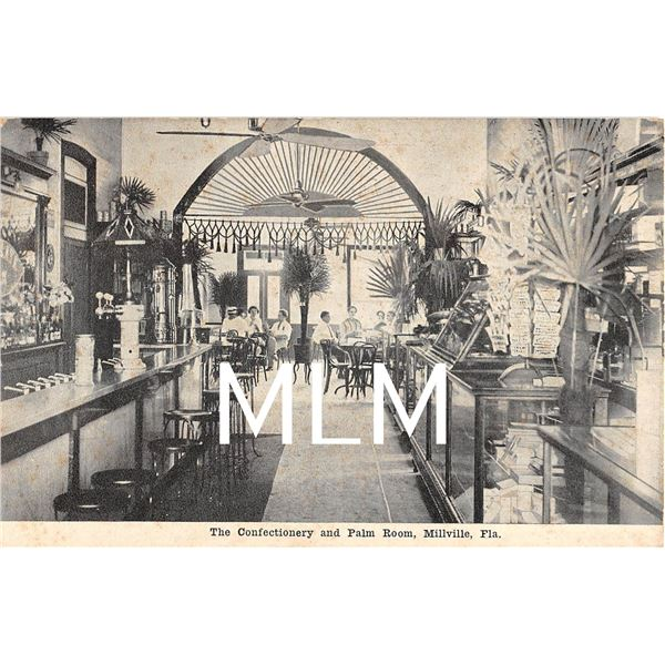Interior Store & Soda Fountain Confectionary & Palm Room, Millville, Florida Postcard