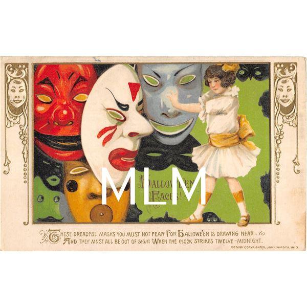 Mask Set of 4 Schmucker Winsch Halloween Postcard Set