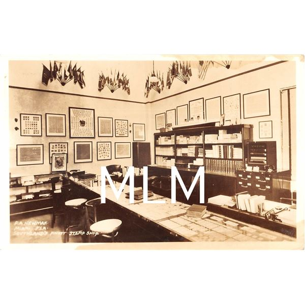 F.A. Newman Stamp Shop Interior Miami, Florida Photo Postcard