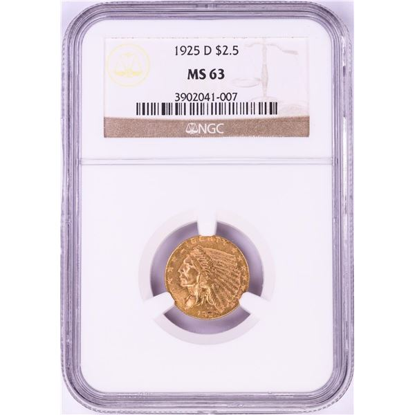 1925-D $2 1/2 Indian Head Quarter Eagle Gold Coin NGC MS63