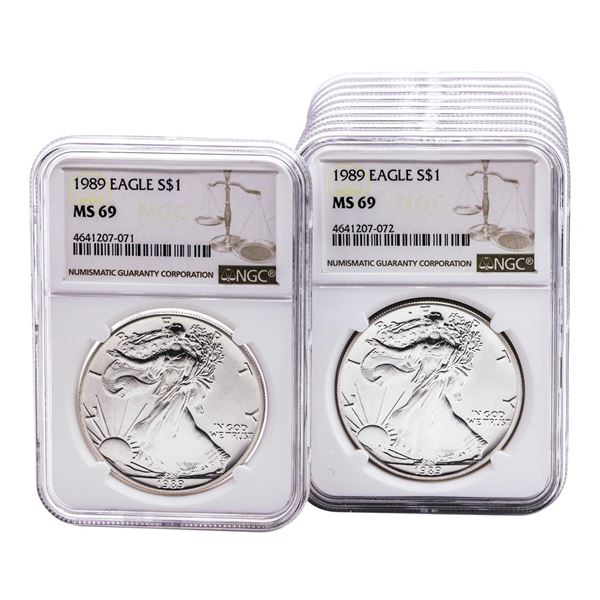 Lot of (10) 1989 $1 American Silver Eagle Coins NGC MS69
