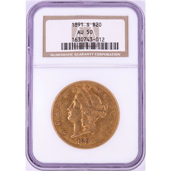 1891-S $20 Liberty Head Double Eagle Gold Coin NGC AU50