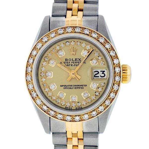 Rolex Ladies Two Tone Steel & Gold Champagne String Diamond Datejust Wristwatch