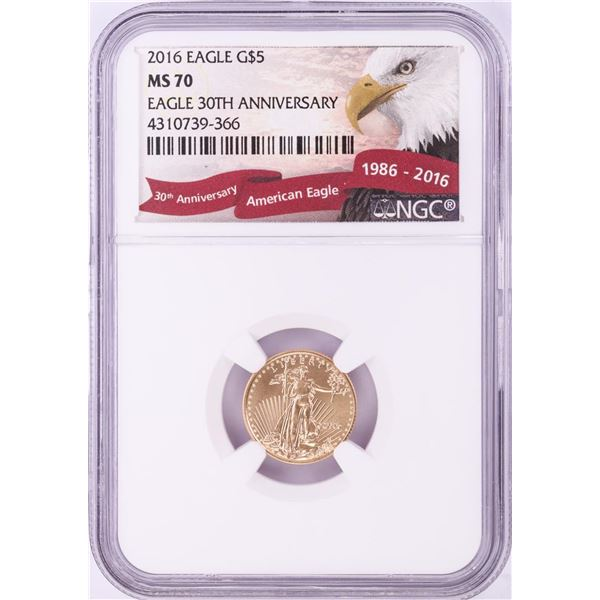 2016 $5 American Gold Eagle Coin NGC MS70