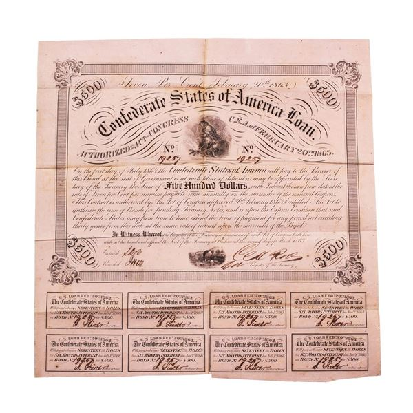 1863 $500 Confederate Bond Obsolete Sheet Printed on Pink Paper B-221
