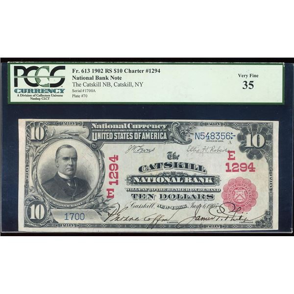 1902 Red Seal $10 Catskill, NY CH# 1294 National Currency Note PCGS Very Fine 35