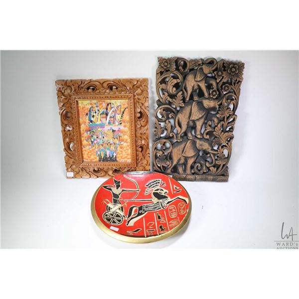 """Three pieces of wall art including gouache on paper painting of villagers at a festival 14 1/2"""" X 12"""