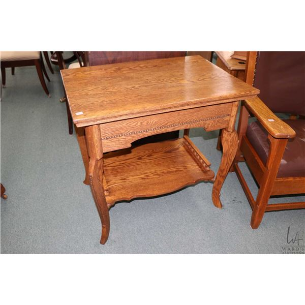 """Antique oak two tier occasional table with decorative beading, 32"""" X 22"""" top"""