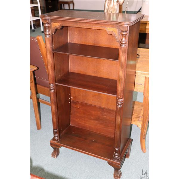 """Mid 20th century four tier open book shelf with carved ball and claw feet, 46"""" in height"""