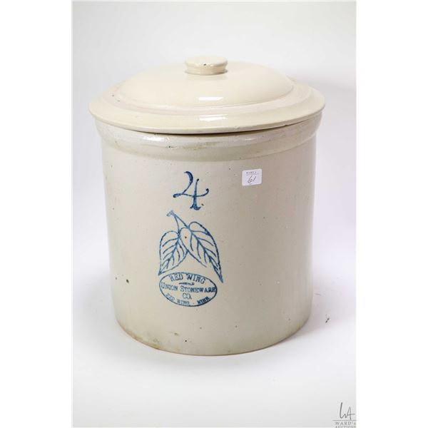 Red Wing four gallon stoneware crock with lid, perhaps mismatched. Shipping not available, local pic