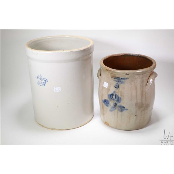 Stoneware crock marked Flack & Van, Arsdale Cornwall Ont. with hand painted floral leaf decoration,