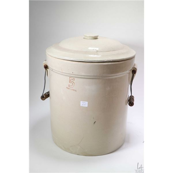Five Imperial gallon stoneware crock with original handles and fitted with lid, may not be original.